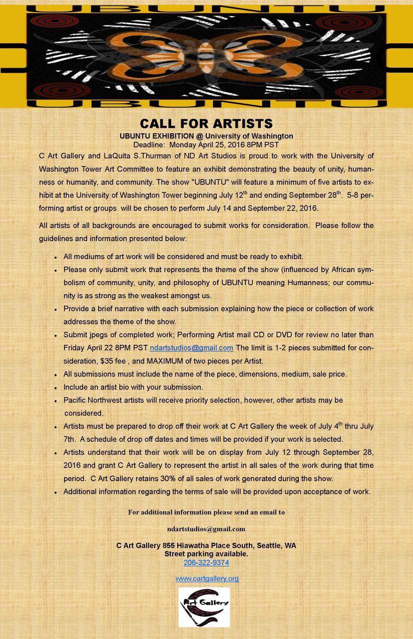 UBUNTU 2016_Artist Call